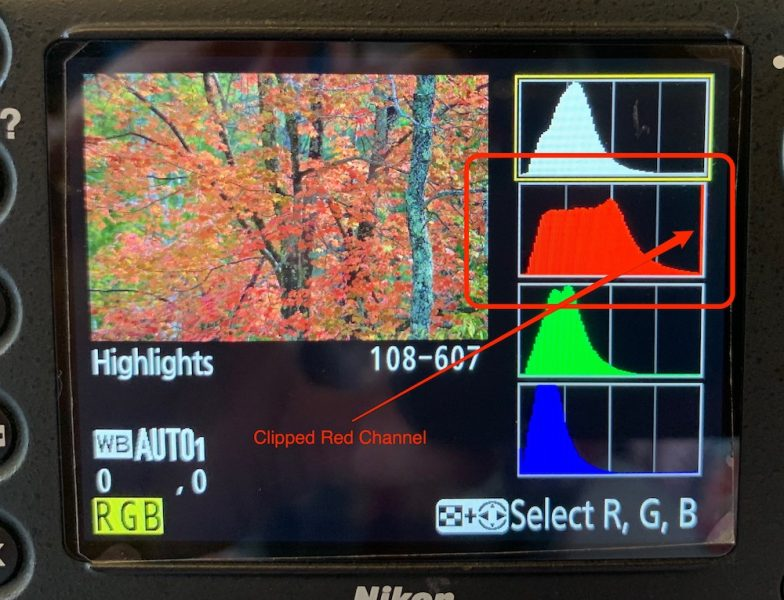 Example of a clipped red channel in the RGB histogram