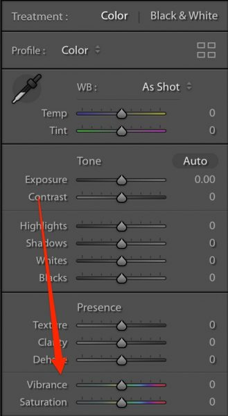 Vibrance and saturation sliders in Lightroom