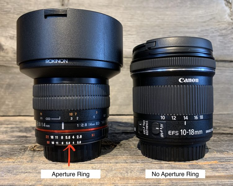 Image of two lenses: one with an aperture ring and one without